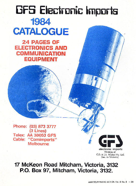 GFS Electronic Imports 1984 Catalogue Front Cover